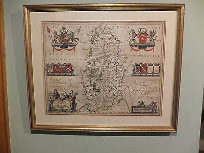 Late 17th early 18th Century hand coloured map engraving Nottinghamshire
