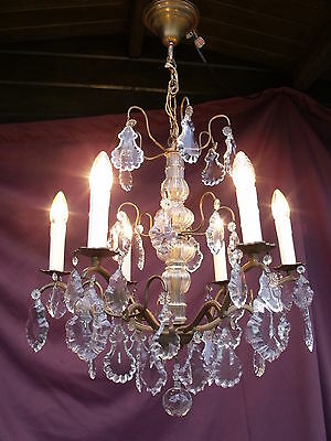 @superbe Antique French  6Lights Chandelier With Special Drops !  Magnifique !
