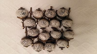 16 Small Porcelain And Brass Door Knobs