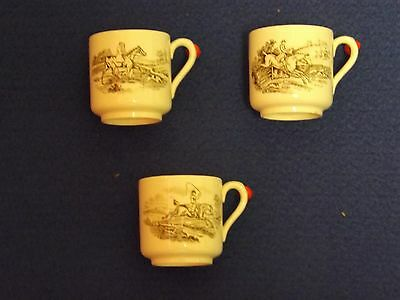 3*Copeland Spode 'Hunting' coffee cups (Height 5.5cm) scenes No.3,5 & 6