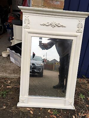 Vintage Shabby Chic Mirror with Cream ornate wooden frame