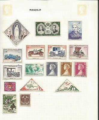 Monaco Commemoratives Collection 17 Stamps Good to Fine Used Mounted Mint