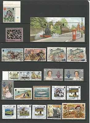 GB Isle of Man Collection of 23 Stamps Includes Minisheet Fine Used UMM