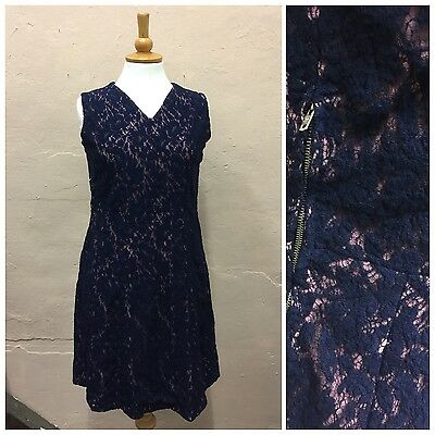 Original Vintage 1960'S Mini Dress Blue & Pink Lacy Skater Metal Zip Size 12