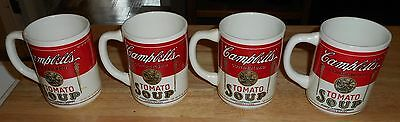 Vintage Campbells Tomato Soup Coffee Mugs Cups Glasses Set Of 4 Usa