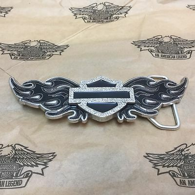 Genuine Harley-Davidson Womens Bar and Shield Crystal Flame Belt Buckle 99418-13