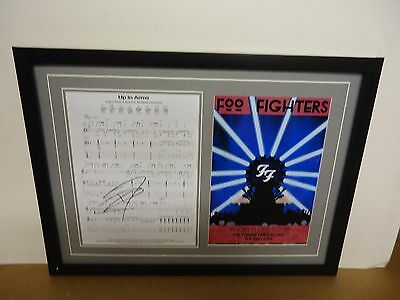 Foo Fighters Hand Signed/Autographed Songsheet with a Poster and COA