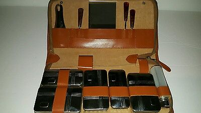 vintage men's grooming kit with leather case Pit Germany art Deco style