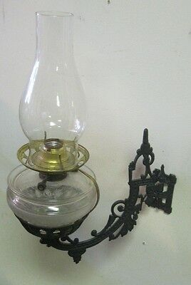 Antique Cast Iron Sconce Oil Lamp Holder Stand Swing Arm Victorian electric