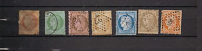 France.  1870. A selection of used  Ceres stamps. Perforated.