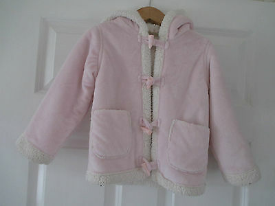 BHS Bambini Soft Sugar Pink Fleecy Lined Toggle Fasten Hooded Coat 24-36 Months