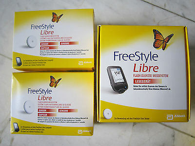 FREESTYLE LIBRE READER mg/dl & 2 SENSORS **FREE FAST COURIER DELIVERY WORLDWIDE