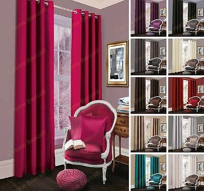 Luxury Thermal Blackout Curtains Pair Eyelet Ring Top Lined Curtains