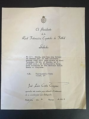 Olympic Games 68 - Spain Football Association Official Letter -On Org Letter Pad