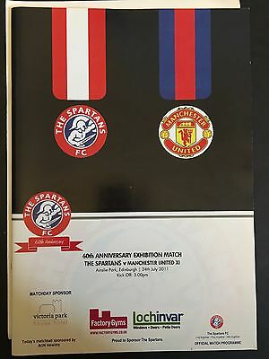 THE SPARTANS v MANCHESTER UNITED XI 60TH ANNIVERSARY FOOTBALL PROGRAMME 24/07/11