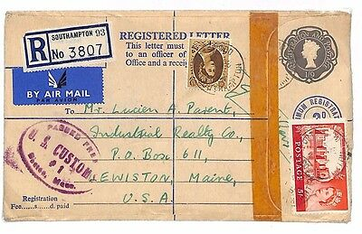B145 1964 GB QEII CASTLE HIGH VALUE 5s Cover Registered Stationery Hants Air USA