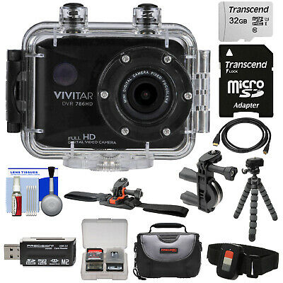 Vivitar DVR786HD 1080p HD Waterproof Action Video Camera Camcorder + Kit (Black)