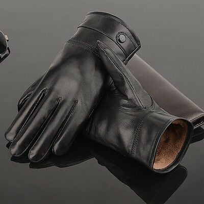 Classic Men's Autum Winter Genuine Leather Lambskin Gloves Mittens Driving Black