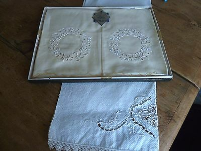 Vintage pair of UNUSED Irish linen guest damask towels. Hand embroidered + 1