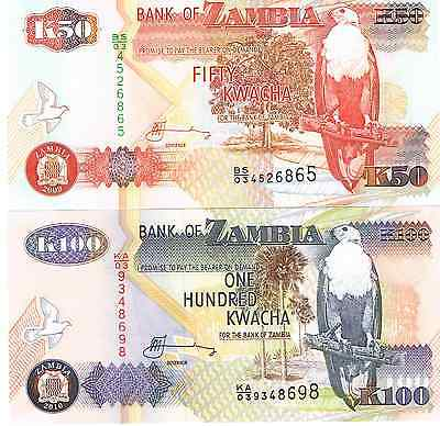 Two Uncirculated Banknotes from Zambia