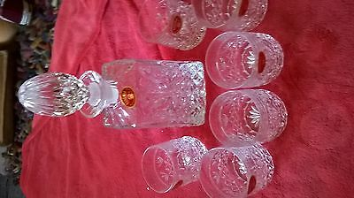Lead Crystal Decanter And 6 Glasses