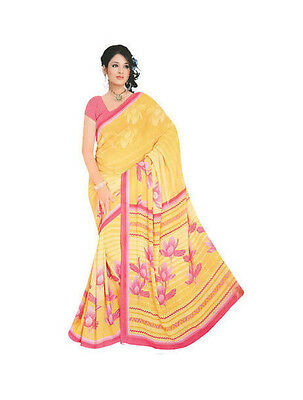 Indrapooja Creations Elegant Chiffon Saree/Sari With Bouse Piece-New