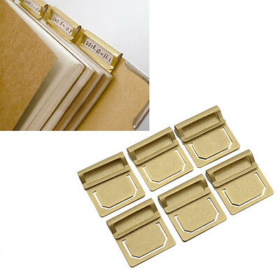 6 Pcs Brass Bookmark Metal Index Clamp Label Clip Stationery Paper Clips