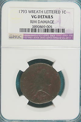 1793 Ngc Vf Details Wreath Lettered Rim Dmg Flowing Hair Large Cent!!!! #a5431