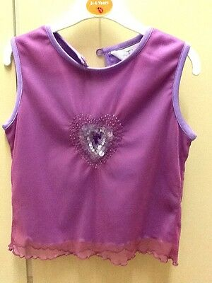Girls lilac and pink sequin party xmas top. age 6-7 years