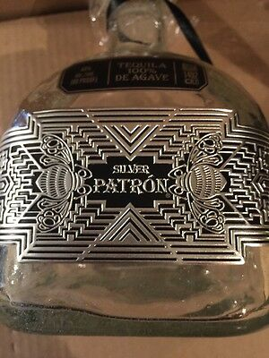 Patron Silver Limited Edition 2016 Bottle Empty With Box Art Deco Pewter Label