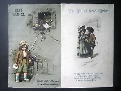 Two Christmas Postcards With Children. Posted.