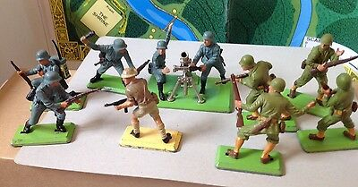 Vintage Britains Deetail WW2 Soldiers.german And American From 80's.