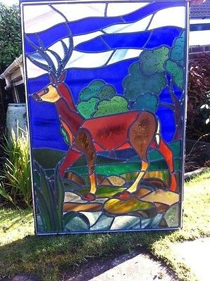 Stained Glass Deer Stag leaded light window