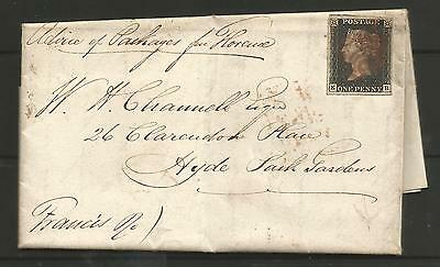 1840 Penny   Black  4 Margin On Cover (Entire) To Hyde ,see Scans
