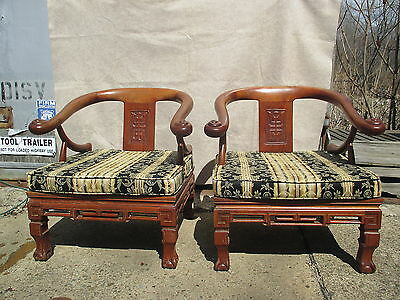 Pair of Chinese Carved Chippendale Solid Mahogany Horse Shoe Chairs Circa 1900