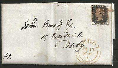 1840 Penny   Black  To Derby On Cover (Entire) Red Cross ,see Scans