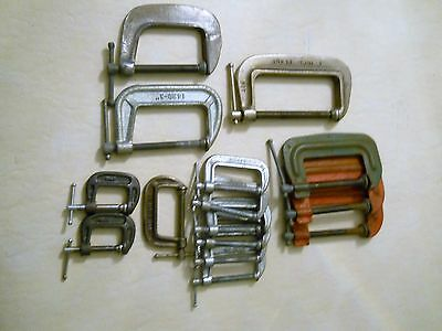15 Piece Lot of Assorted C Clamps, VGC