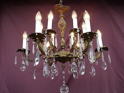 @superbe Vintage French Bronze 12Lights Chandelier With Drops !  Magnifique !
