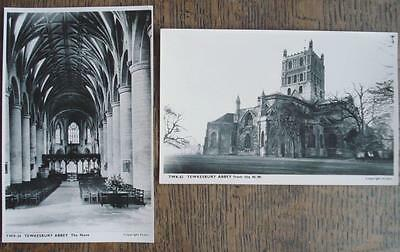2x postcards of Tewkesbury Abbey, Frith's Series, c1950s