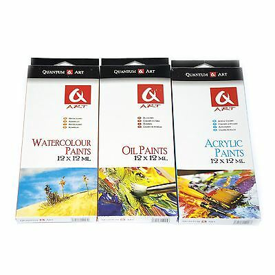Set 12 x12ml Paints Assorted Colours Artists Canvases Picture Art Display Craft