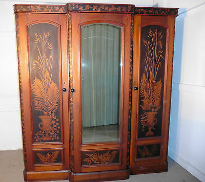 Victorian Pine Decorated Arts & Crafts Wardrobe