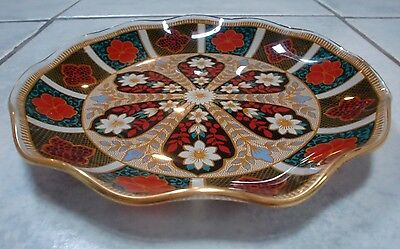 Glass Dish RARE Vintage Chance Style with Gold Fluted Rim & Multicolour Flowers