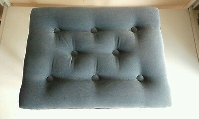 Vintage Old Footstool Foot Rest Blue Buttoned Fabric Queen Anne Removable Legs F