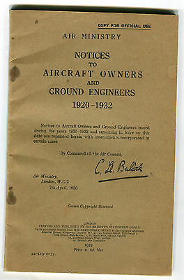 Air Ministry  Notices to Aircraft Owners & Ground Engineers 1920-1932  HMSO 1933