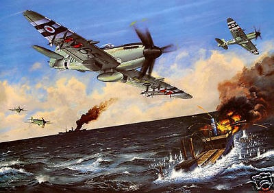 ROYAL NAVY, RAF, Fleet Air Arm KOREAN WAR SEAFIRE, Artist signed print (384)