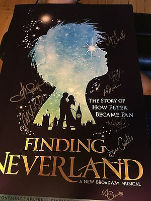 Finding Neverland Closing Cast Broadway Signed Poster Window Card Peter Pan Nice