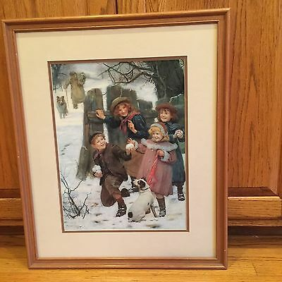 """Hold Up, Here He Comes"" Framed Matted Print By Arthur Elsley Christmas Winter"