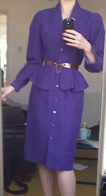 Vintage 1980s purple peplum dress by Principles, size 8 (vintage size 10)