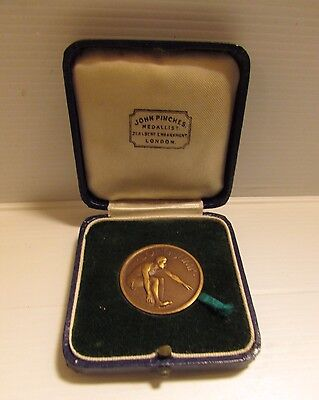 Stunning Vintage Boxed Long Jump Medal / 1930's Fully Engraved / W577 1116