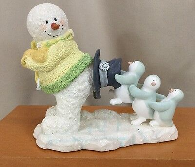 "Russ Berrie Ice Sculptures ""Slushing Through the Snow"" Figurine"